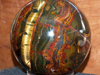 Marramamba Tiger Eye ball, almost 20 inches diameter with 2 bands. Probably the largest ever made from this material.